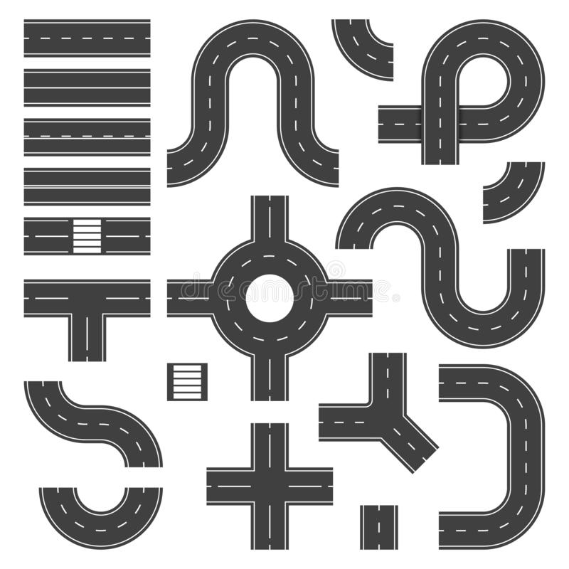 Top view road elements. Street junction and roads objects, asphalt city speedway. Traffic crossroad footpaths vector stock illustration