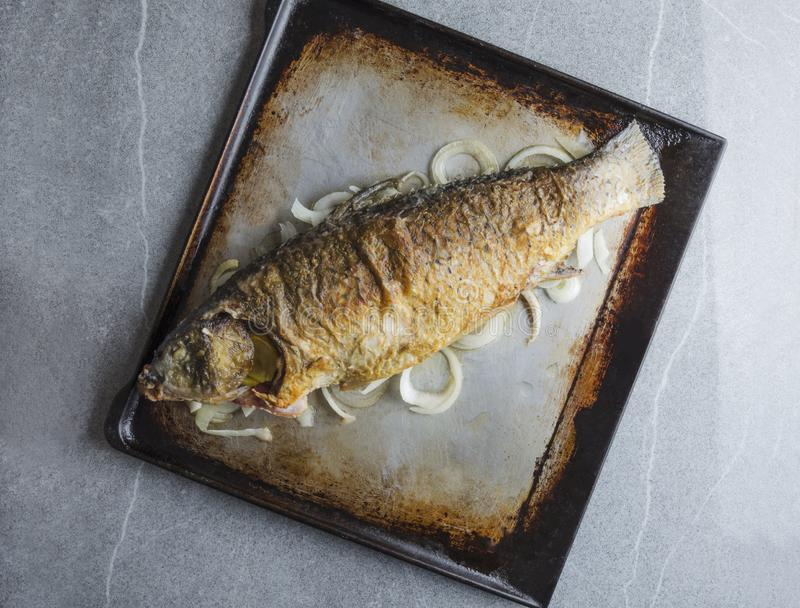 Top view of roasted fresh carp fish on rustic tray on grey tablein the kitchen royalty free stock photography