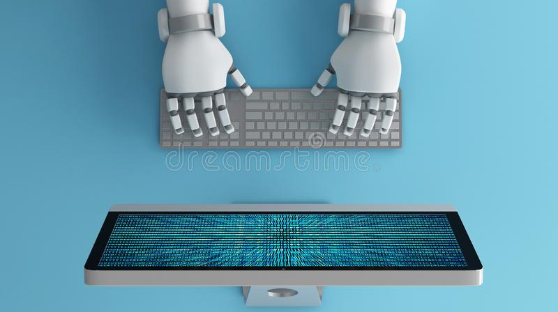 Top view of Robot hands using keyboard in front of a computer mo vector illustration