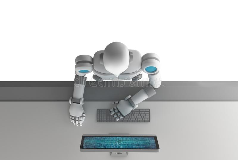 Top view of robot using a computer with binary data number code stock illustration