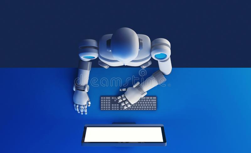 Top view of robot using a computer monitor with blank screen iso vector illustration