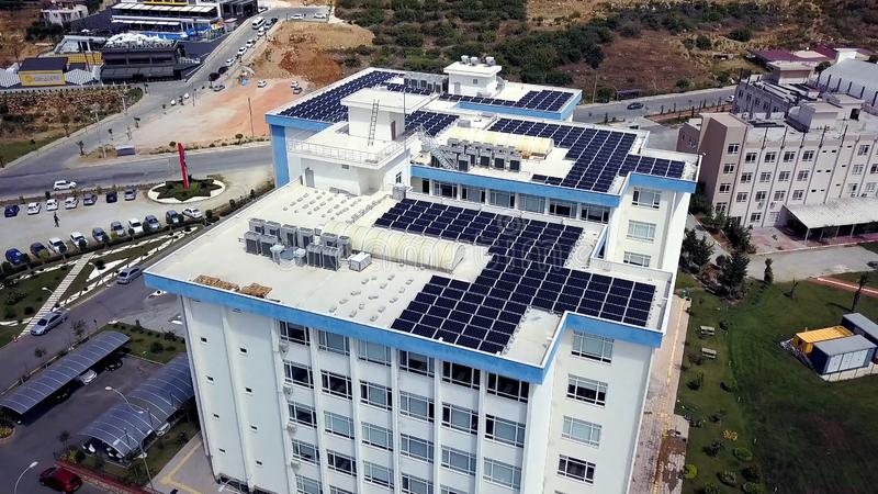 Solar Panels On Building Roof Stock Image Image Of
