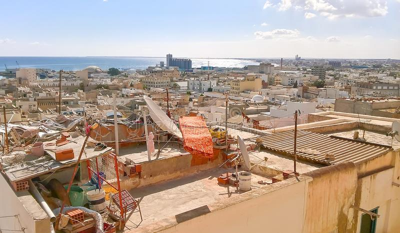 Top view of the roofs of the old Arab city and the port. The city of Sousse in Tunisia. stock photography