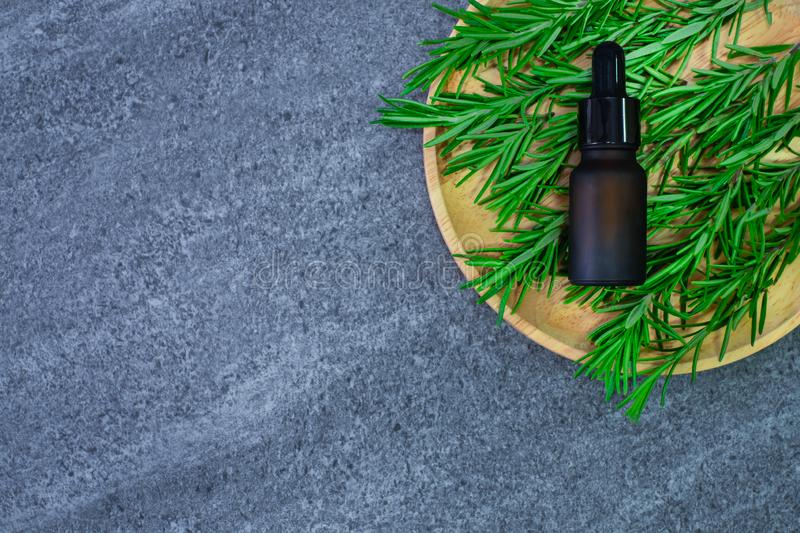 Top view of rosemary essential herb oil bottle with fresh organic rosemary twigs, bunch in wooden plate on top table background. royalty free stock image