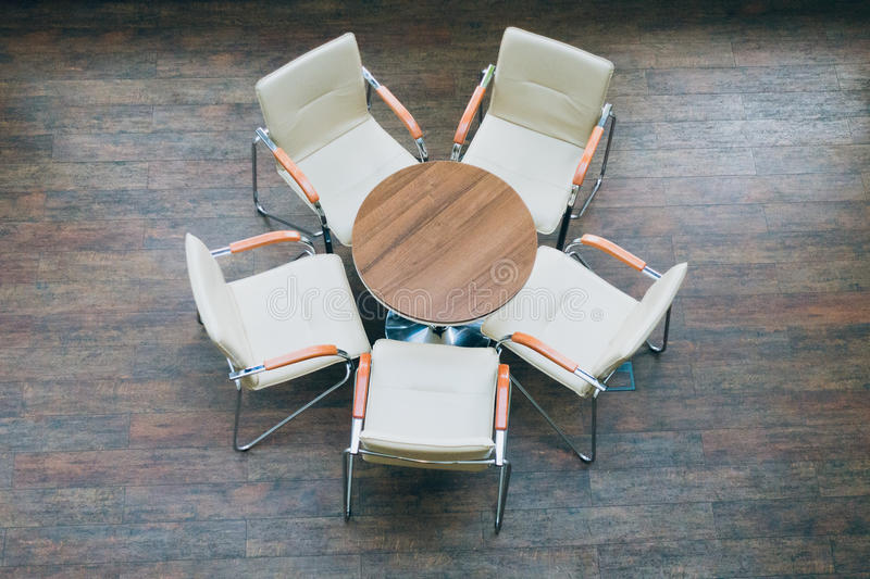 Top view of round table and chairs royalty free stock photos
