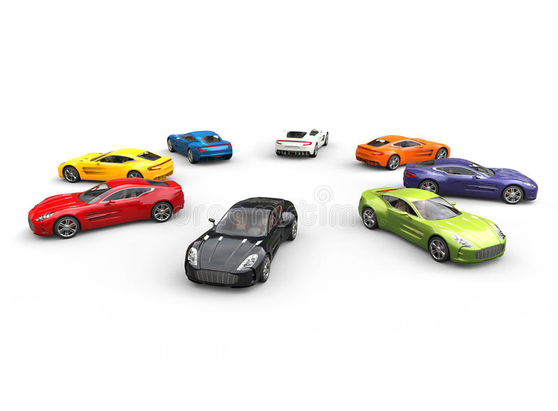 Top view on row of multicolored cars in a circle stock photography