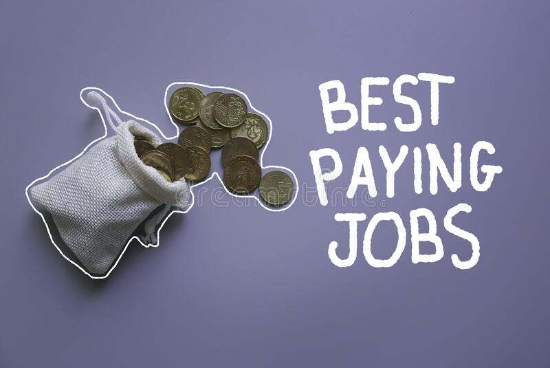 Top view of a rug sack with full of gold coins on grey background written with doodle of Best Paying Jobs. Concept of career and. Job hunting royalty free stock photography