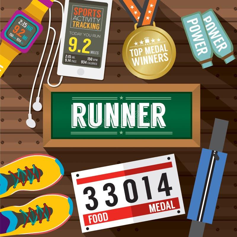 Top View Runner Gears On Wooden Plank. Vector Illustration vector illustration