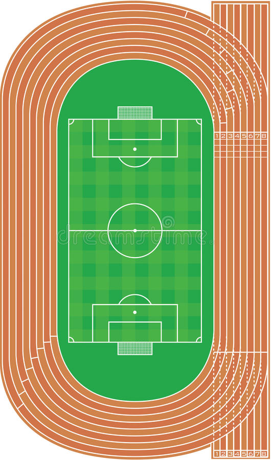 top view of running track and soccer field - vector stock image