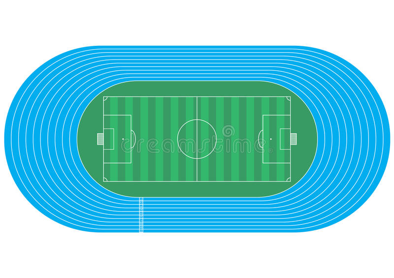 top view of running track and soccer field  stock illustration