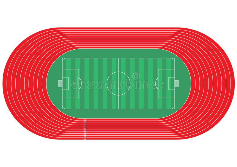Top view of running track and soccer field on white background. Is a general illustration stock illustration