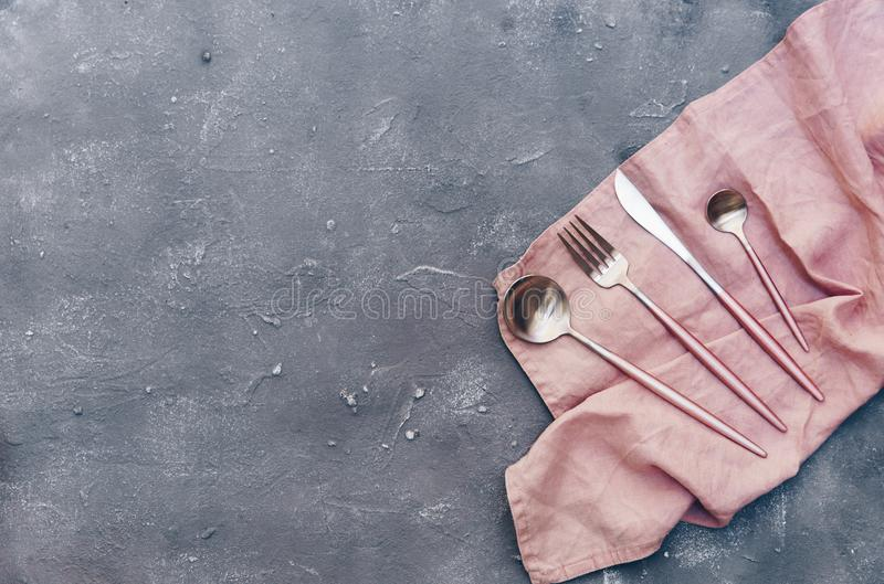 Top view of rustic silverware. On blue shabby chic surface stock images