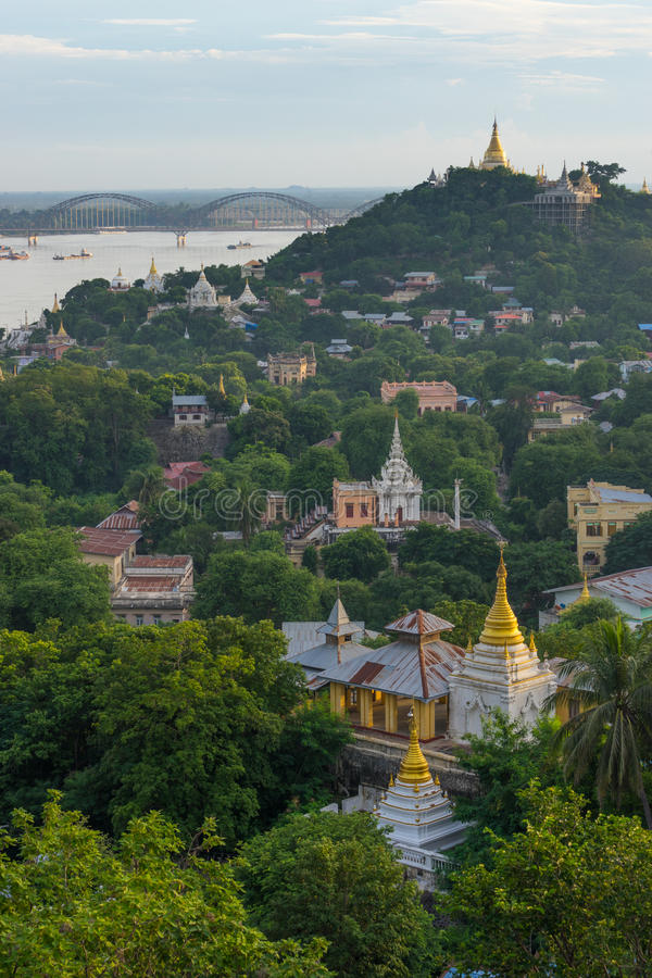 Top view of Sagaing old city, Mandalay region, Myanmar. Asia stock photography