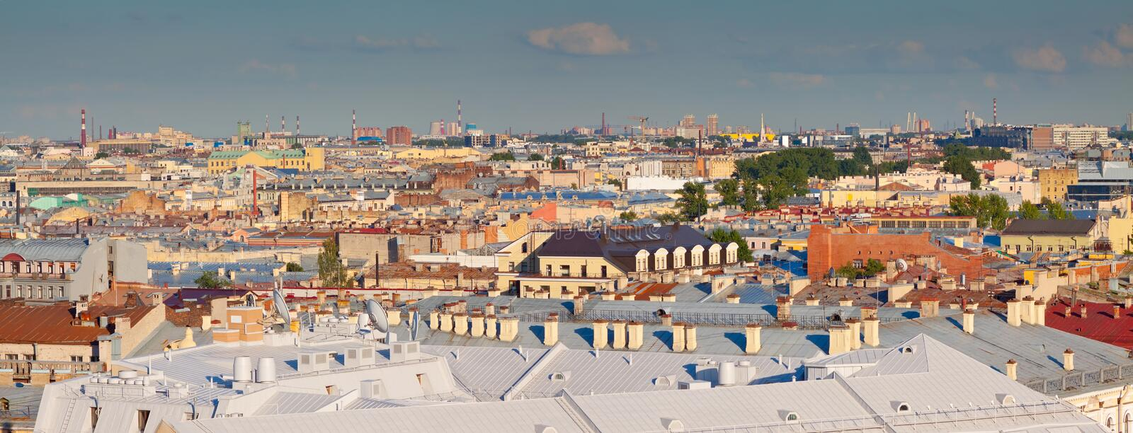 Top view of Saint Petersburg. From Saint Isaac's Cathedral in summer day. Russia royalty free stock image