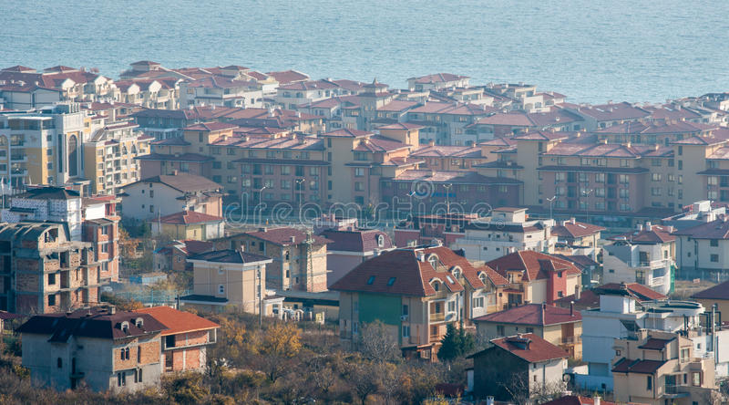 Top view Saint Vlas, Bulgaria stock photo