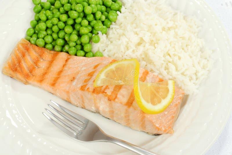 Top view salmon with lemon stock image