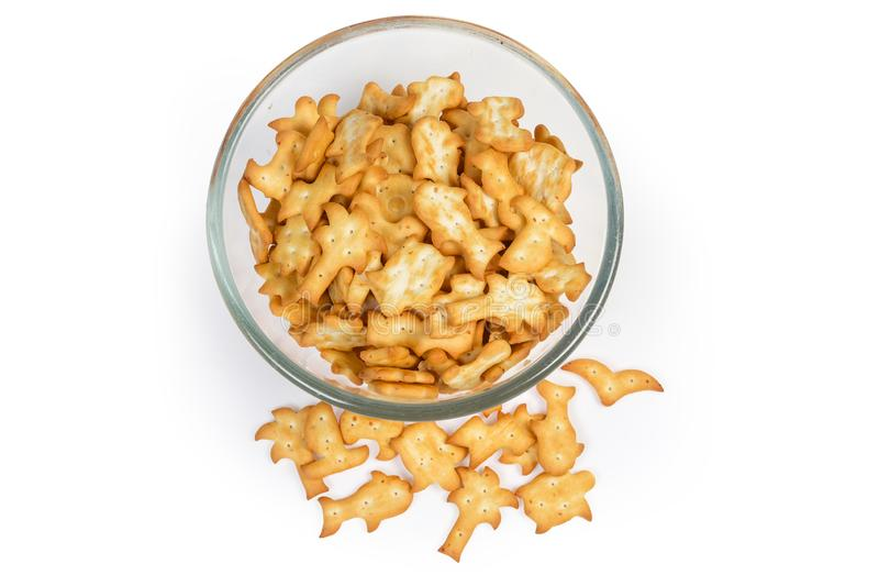 Top view of salty crackers various forms in glass bowl stock photography