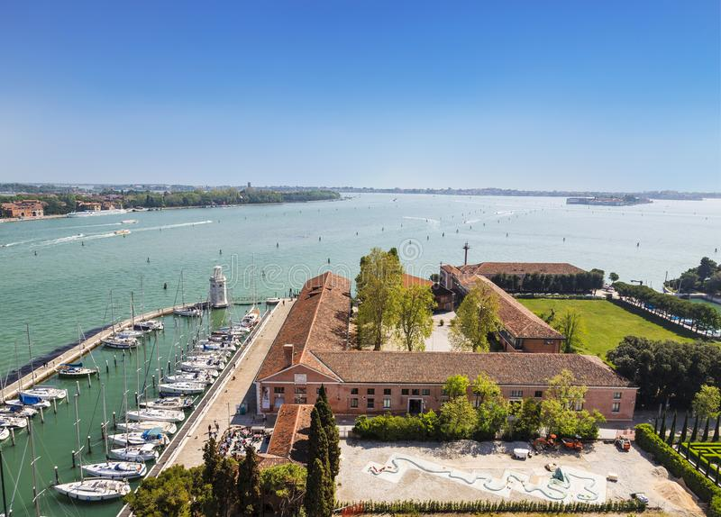 Top view of San Giorgio Maggiore island, Venetian lagoon, Marina and monastery grounds, Venice stock photos