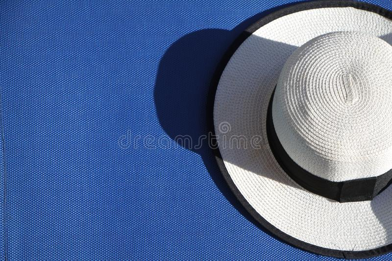 Top view of sandy beach with summer accessories and copy space around products. Blank mock up for advertising or packaging royalty free stock photos
