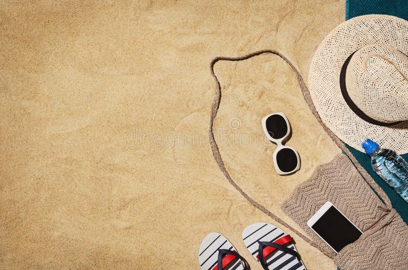 Top view towel on sandy beach. Background with copy space royalty free stock photos
