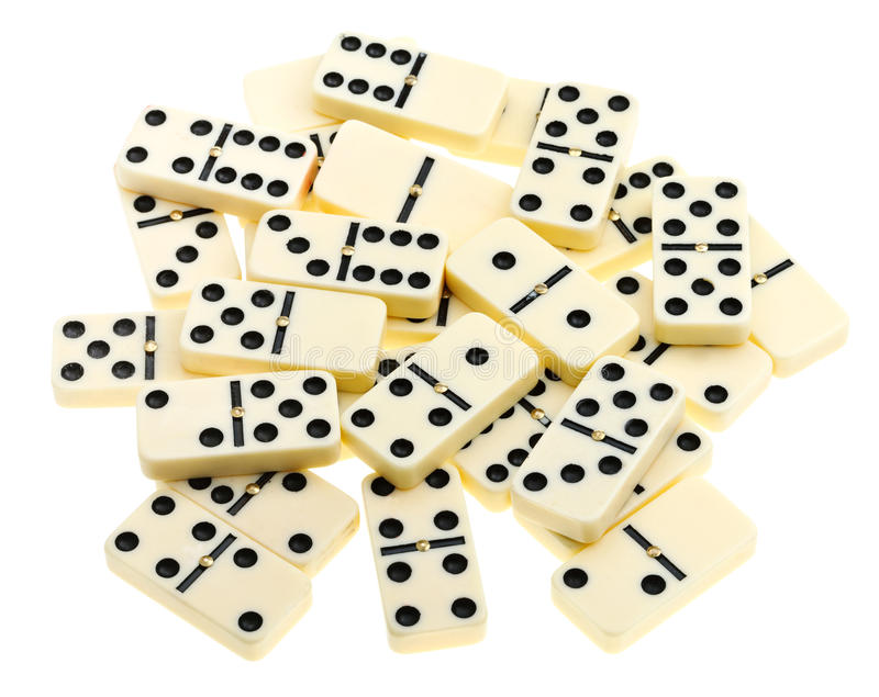 Top view of scattered dominoes royalty free stock photos