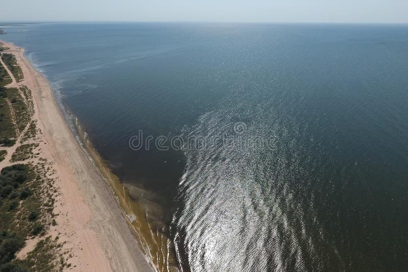Top view of the Sea of Azov. Seaside Resort stock photography
