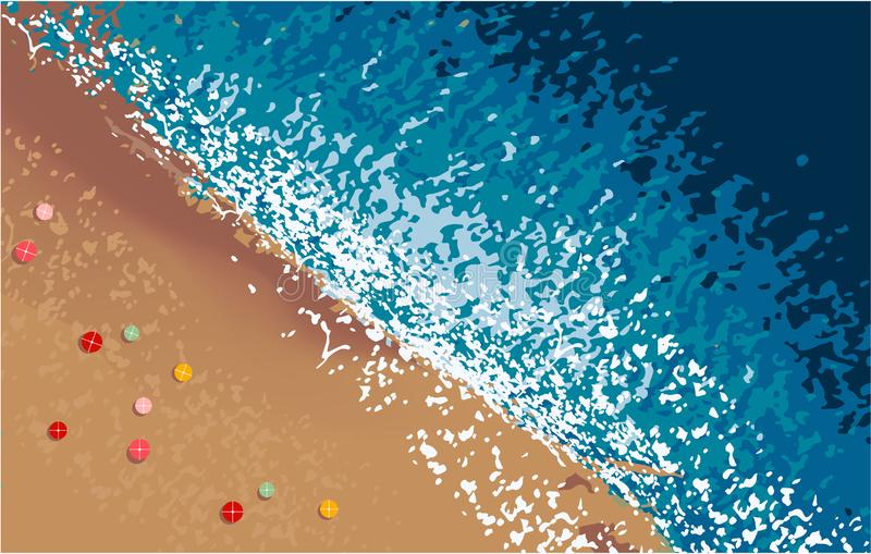 Top view of sea water and beach royalty free illustration