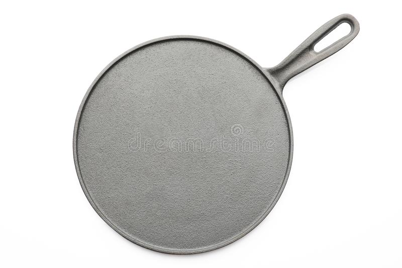 Top View of Seasoned Cast Iron Pan on White Background royalty free stock photos