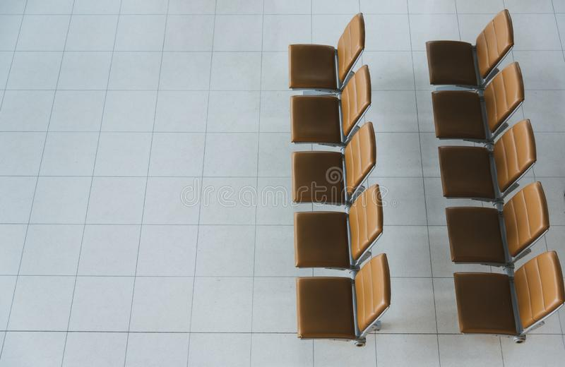 Top view Seats, departure lounge in the airport stock image