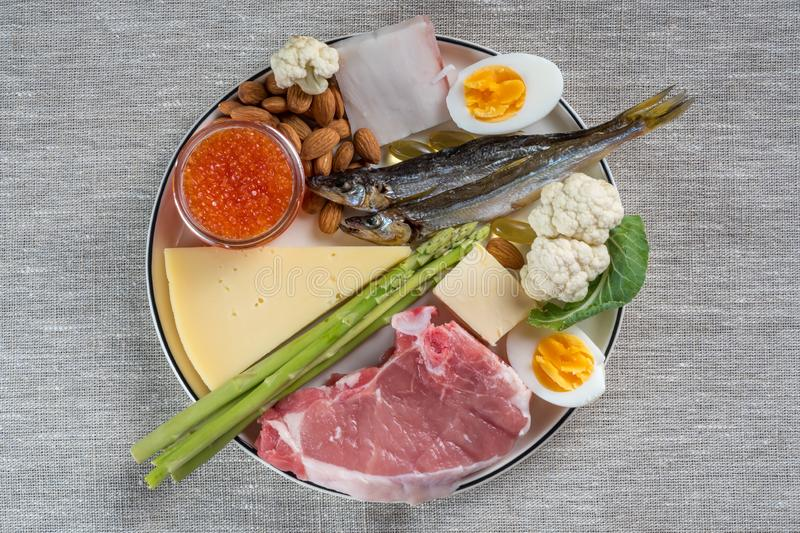 Top view of Selection of good fat sources of ketogenic diet products on a linen fabric background. Selection of good fat sources - healthy eating concept stock photo