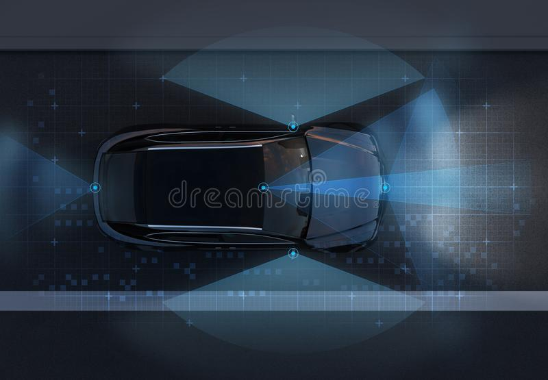 Top view of self-driving SUV on the road with sensing graphic pattern retouched. Night traffic. 3D rendering image royalty free illustration