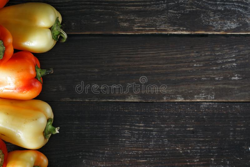 Top view set red yellow homemade pepper dark background border royalty free stock photo
