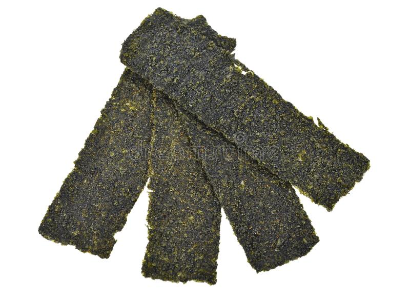 Top view Sheet of dried seaweed, Crispy seaweed isolated on whit. E background stock photo