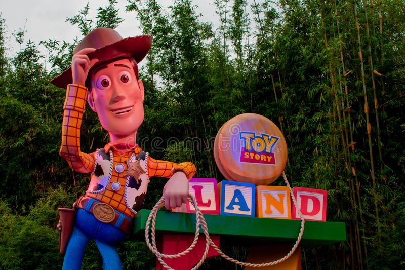 Top view of Sheriff Woody in Toy Story Land main entrance in Hollywood Studios at Walt Disney World area 2. Orlando, Florida. March 29, 2019. Top view of Sheriff stock photo