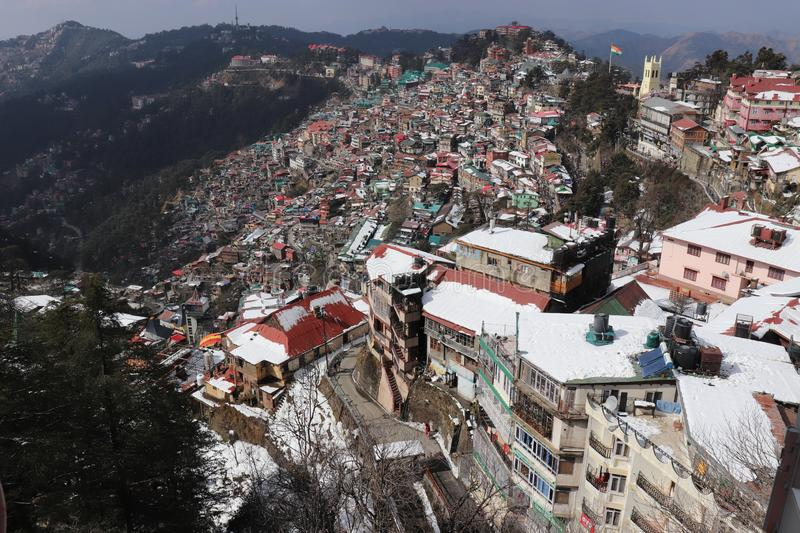 Top view of Shimal city a lovely hill station from Jakho Tample. Top view of Shimla city a lovely hill station from Jakho Temple. One of the most famous tourist stock image