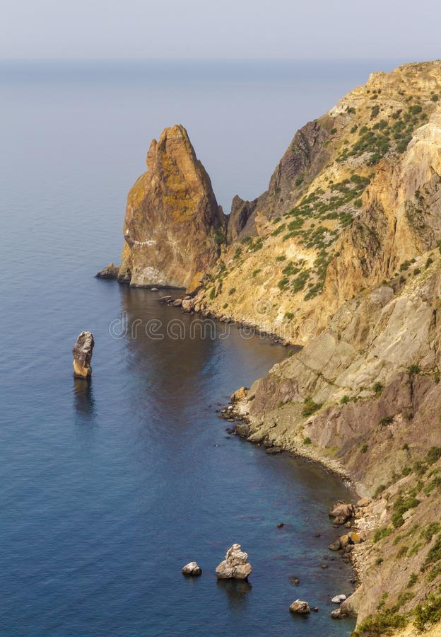 Top view of the shore and cliffs of Cape Fiolent. black sea coast. Crimea stock images