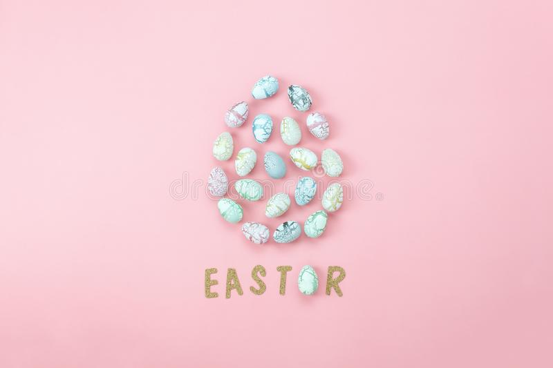 Top view shot of arrangement decoration Happy Easter holiday royalty free stock images