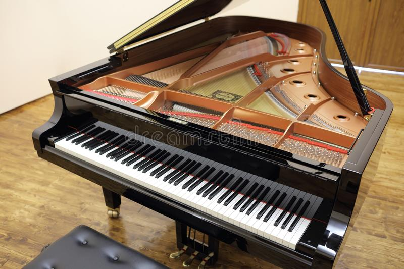 Top view shot of a grand piano royalty free stock image