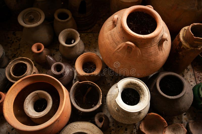 Top view shot of a group of ancient pottery vessel royalty free stock image