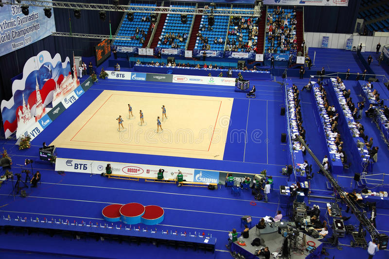 Top view of show of artistic gymnastics hoop stock photography
