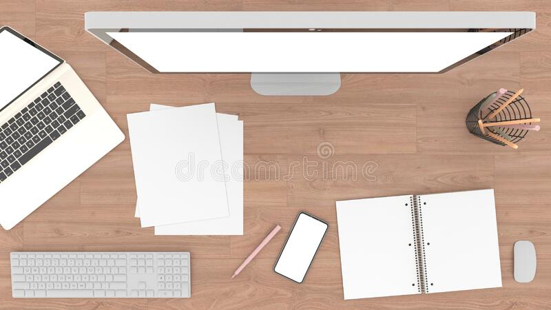 The top view is a simulation of laptops, computers, paper, keyboard, Pencil, pen and Smartphone white screen resting On a wooden t. Able, illustration, 3D stock illustration