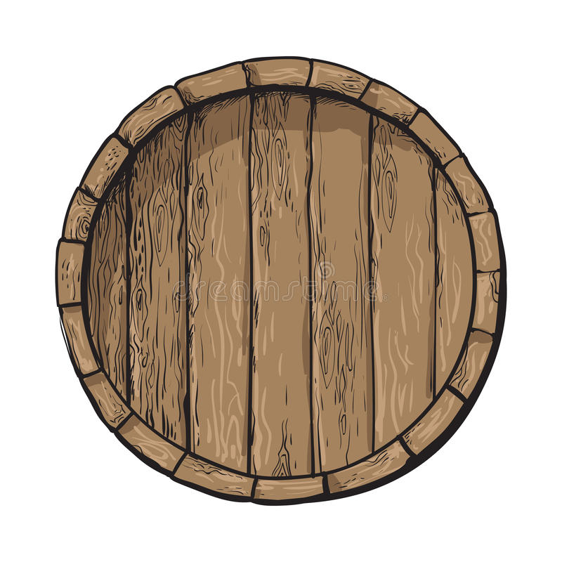 Top view of sketch style wooden barrel with tap vector illustration