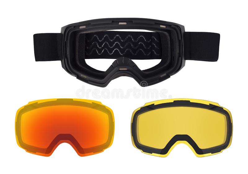 Ski goggles with magnetic removable lenses. royalty free stock photo