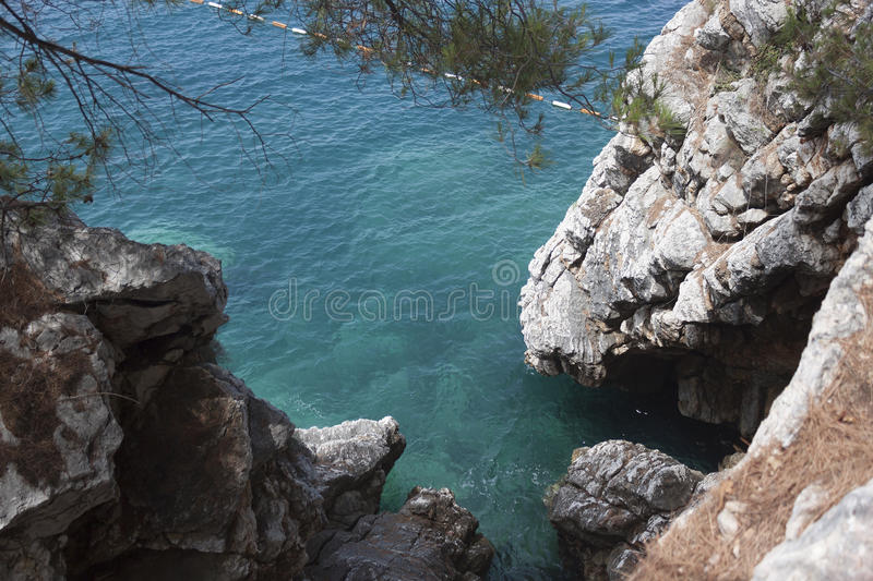 Top view of a small cove. Sheer cliffs, turquoise sea royalty free stock photography