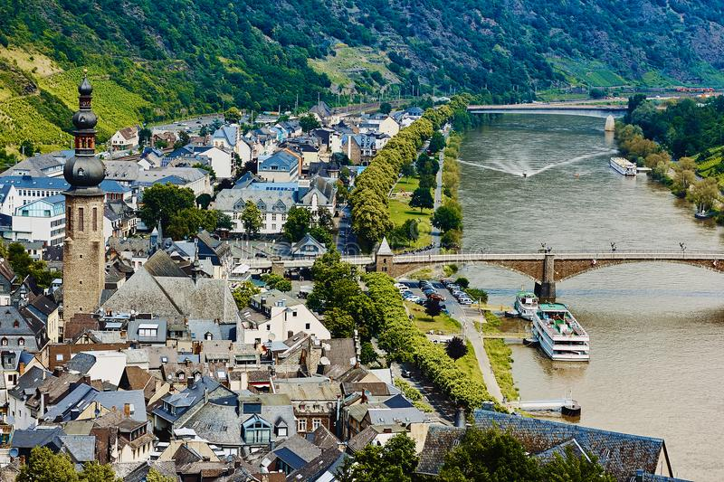 Top view of the small medieval german town Cochem, the river Mosel with ships and green hills. Germany, Europe royalty free stock photography