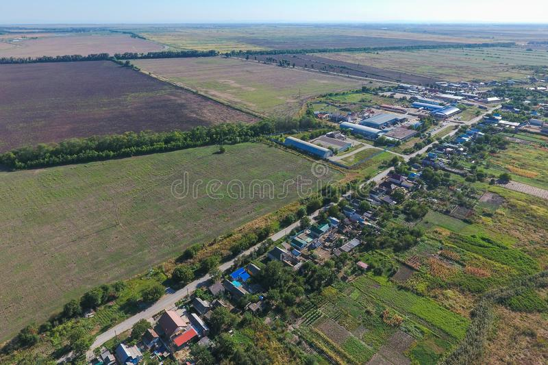 Top view of the small village royalty free stock image