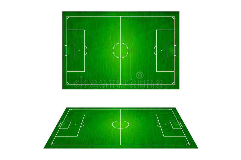 Top View Of Soccer Field, Football Stadium. Stock