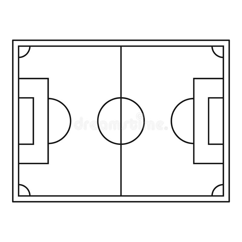 top view of soccer field icon  outline style stock vector