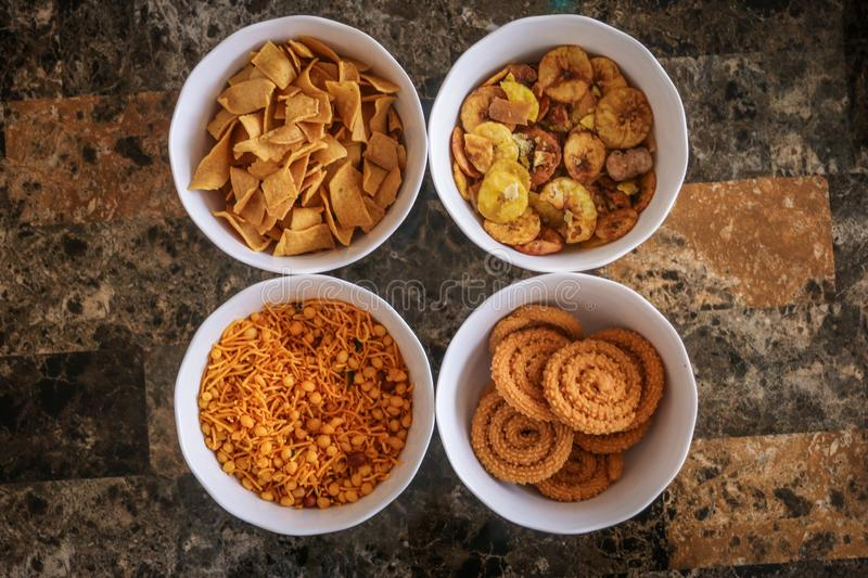 Top view of some Indian snacks royalty free stock photography