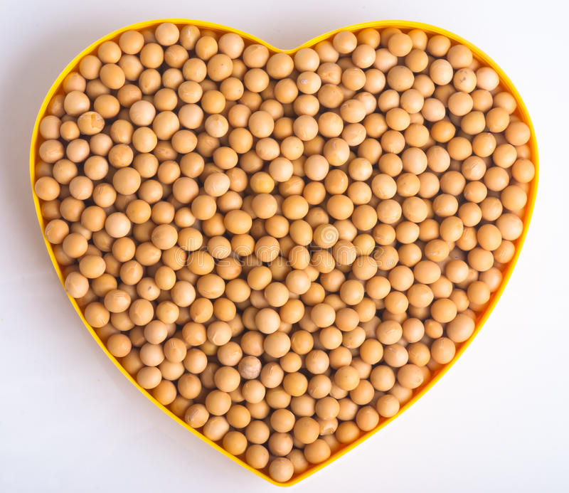 Top view soy beans in love sign white background royalty free stock images